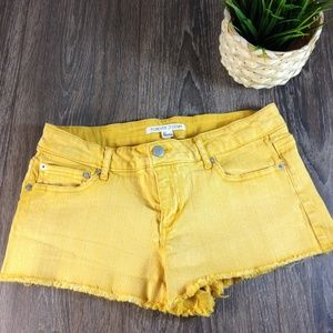 Forever 21 Low Rise Raw Edge Yellow Shorts 27